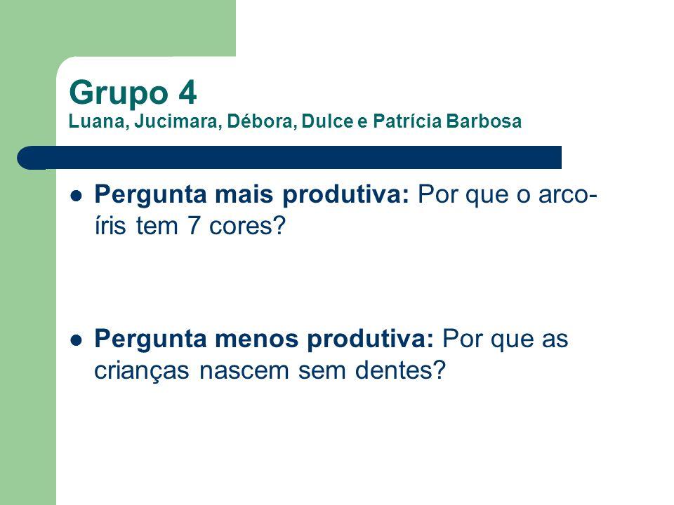 Grupo 4 Luana, Jucimara, Débora, Dulce e Patrícia Barbosa Pergunta mais produtiva: Por que o arco- íris tem 7 cores? Pergunta menos produtiva: Por que