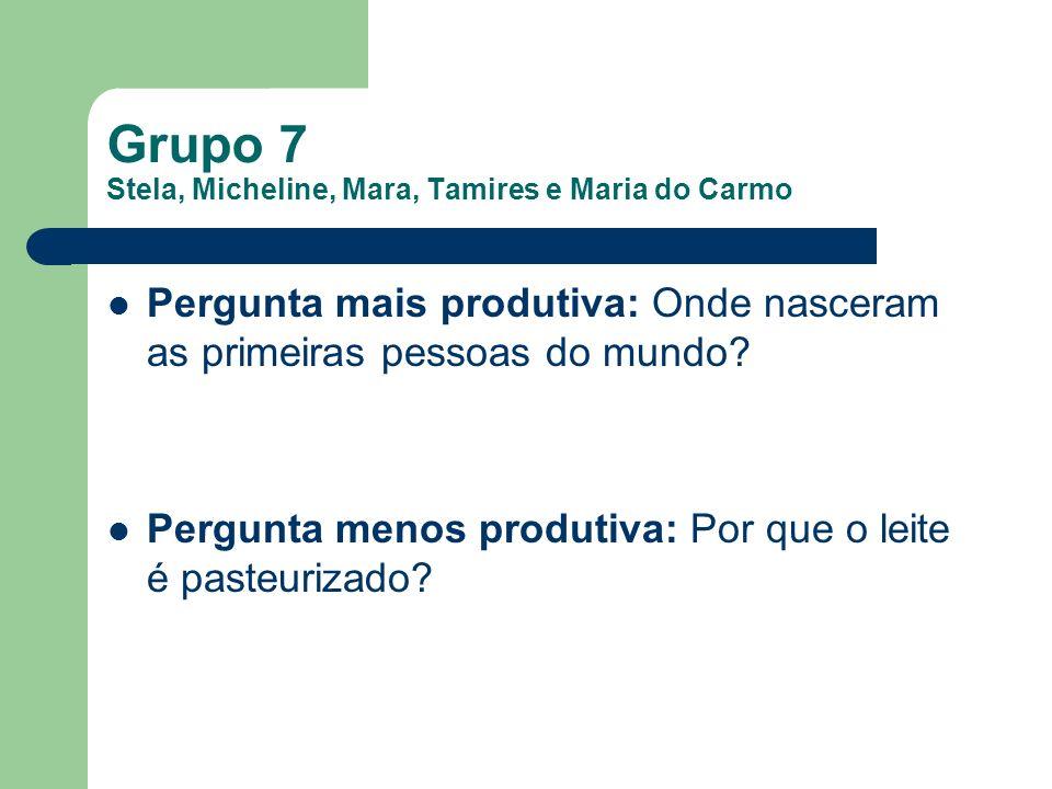 Grupo 7 Stela, Micheline, Mara, Tamires e Maria do Carmo Pergunta mais produtiva: Onde nasceram as primeiras pessoas do mundo? Pergunta menos produtiv