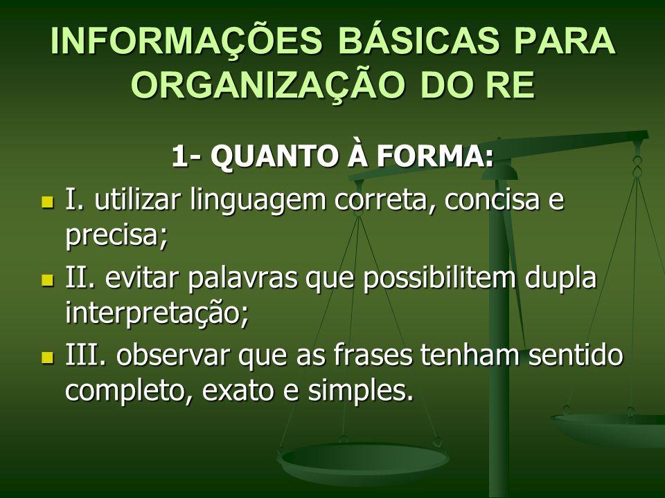 INFORMAÇÕES BÁSICAS PARA ORGANIZAÇÃO DO RE 1- QUANTO À FORMA: I.