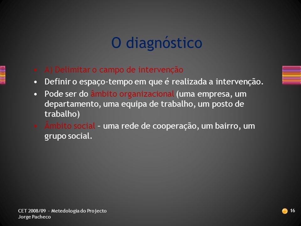 O CICLO DO PROJECTO 15 CET 2008/09 - Metedologia do Projecto Jorge Pacheco