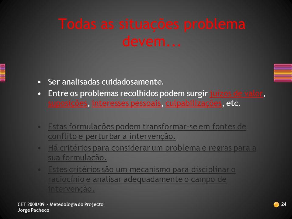 Análise de Problemas 23 CET 2008/09 - Metedologia do Projecto Jorge Pacheco PROBLEMA MELHORIA A OBTER ATRAVÉS DE… MEDIDAS