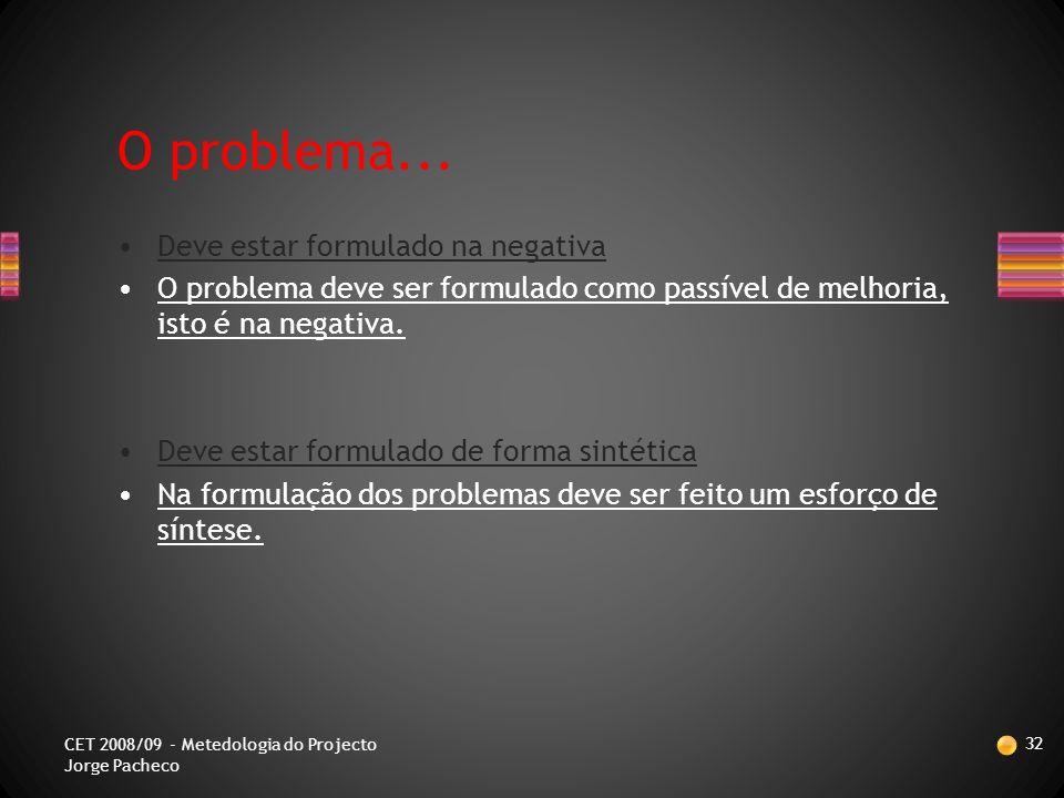 REGRAS PARA FORMULAR UM PROBLEMA 31 CET 2008/09 - Metedologia do Projecto Jorge Pacheco