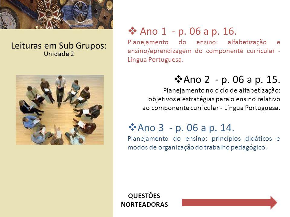 Ano 1 - p. 06 a p. 16. Planejamento do ensino: alfabetização e ensino/aprendizagem do componente curricular - Língua Portuguesa. Ano 2 - p. 06 a p. 15
