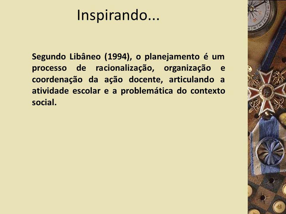 Inspirando... Segundo Libâneo (1994), o planejamento é um processo de racionalização, organização e coordenação da ação docente, articulando a ativida