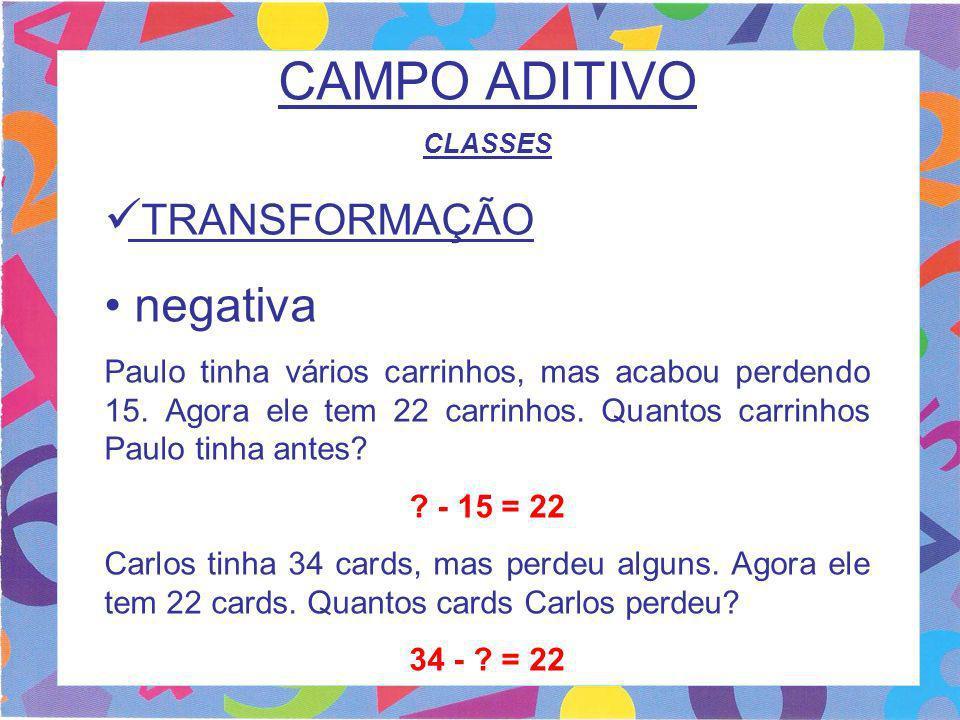 CAMPO ADITIVO CLASSES TRANSFORMAÇÃO negativa Paulo tinha vários carrinhos, mas acabou perdendo 15. Agora ele tem 22 carrinhos. Quantos carrinhos Paulo