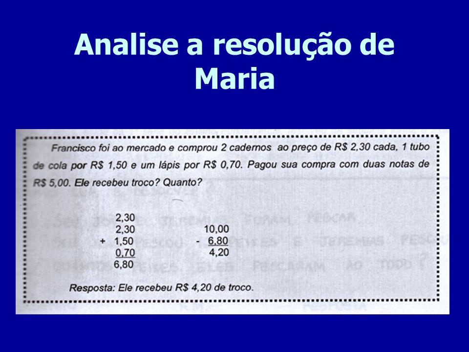 Analise a resolução de Maria