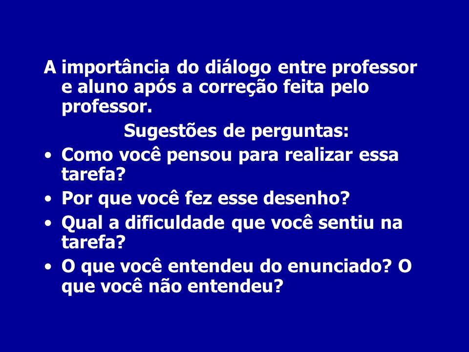 A importância do diálogo entre professor e aluno após a correção feita pelo professor. Sugestões de perguntas: Como você pensou para realizar essa tar