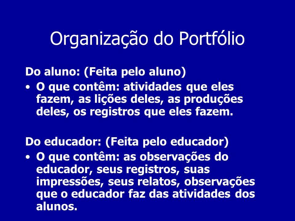 Organização do Portfólio Do aluno: (Feita pelo aluno) O que contêm: atividades que eles fazem, as lições deles, as produções deles, os registros que e