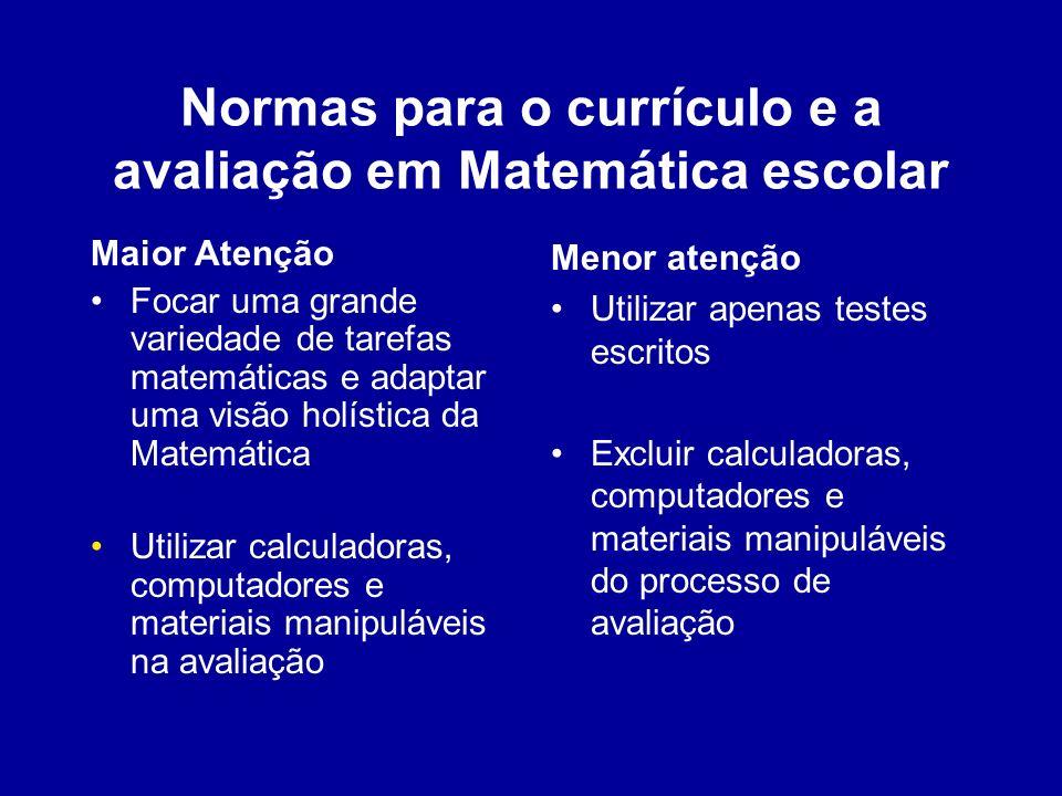 Normas para o currículo e a avaliação em Matemática escolar Maior Atenção Focar uma grande variedade de tarefas matemáticas e adaptar uma visão holíst
