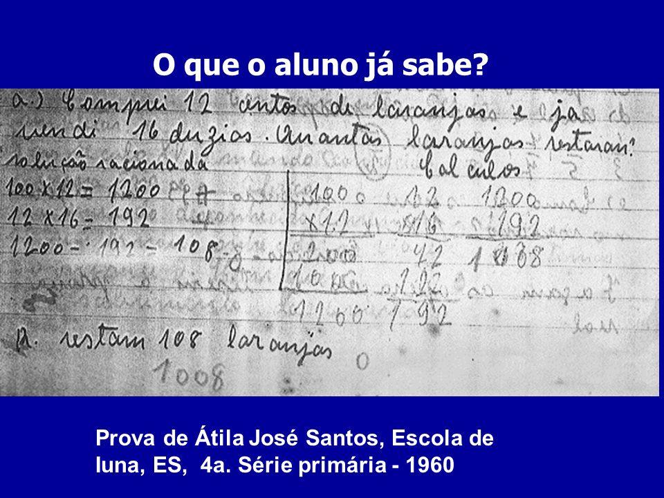 O que o aluno já sabe? Prova de Átila José Santos, Escola de Iuna, ES, 4a. Série primária - 1960