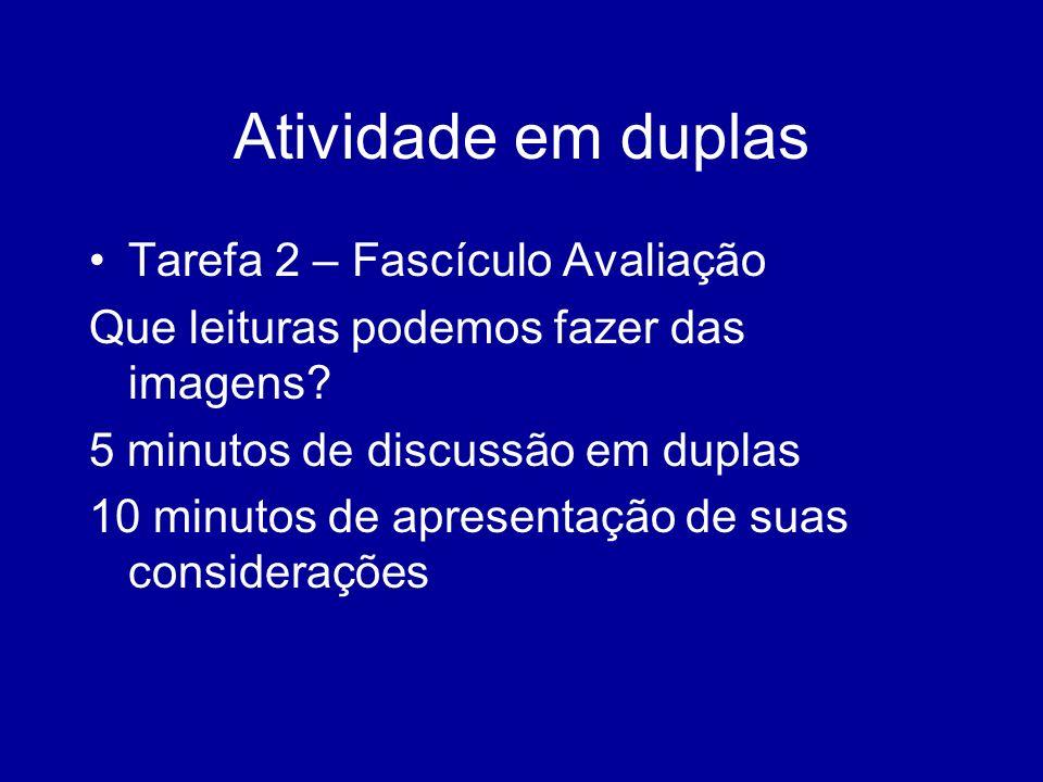 Atividade em duplas Tarefa 2 – Fascículo Avaliação Que leituras podemos fazer das imagens? 5 minutos de discussão em duplas 10 minutos de apresentação