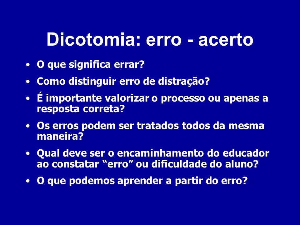 Dicotomia: erro - acerto O que significa errar? Como distinguir erro de distração? É importante valorizar o processo ou apenas a resposta correta? Os