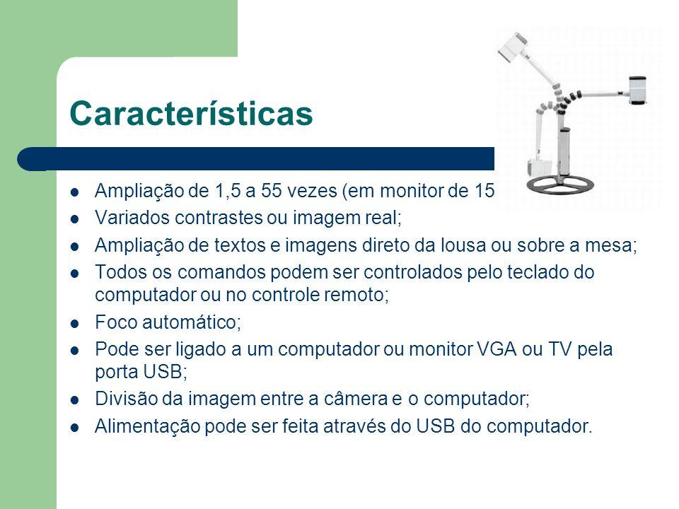 Características Ampliação de 1,5 a 55 vezes (em monitor de 15
