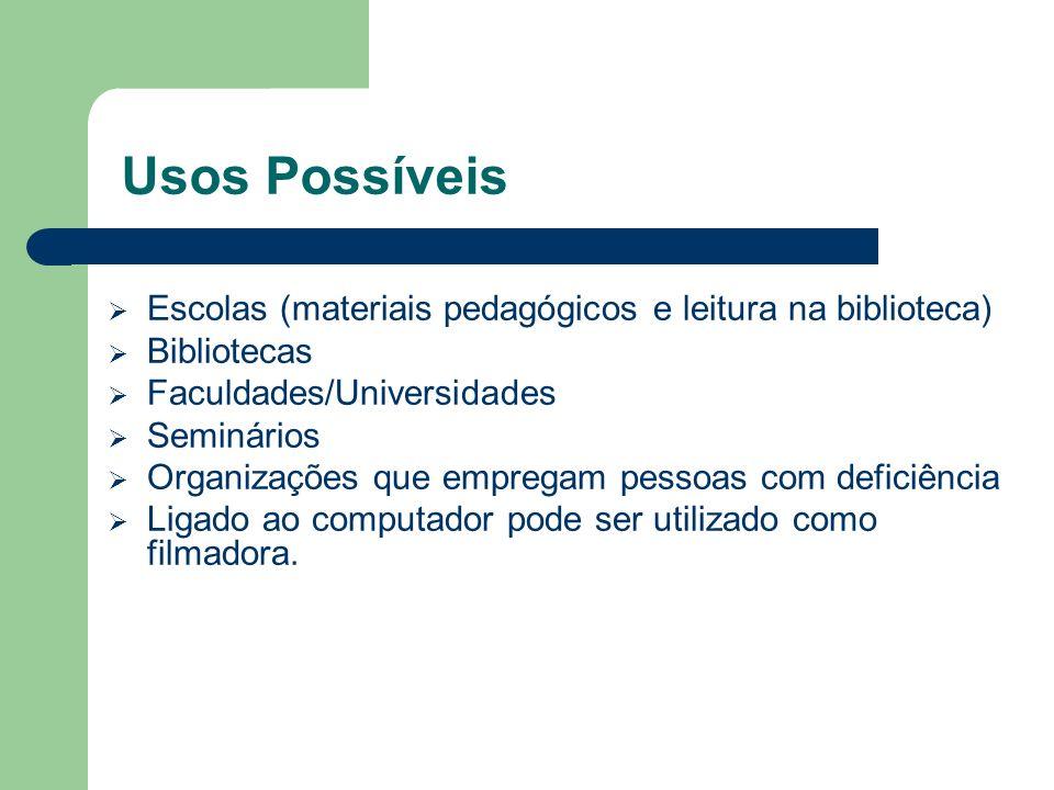Usos Possíveis Escolas (materiais pedagógicos e leitura na biblioteca) Bibliotecas Faculdades/Universidades Seminários Organizações que empregam pesso