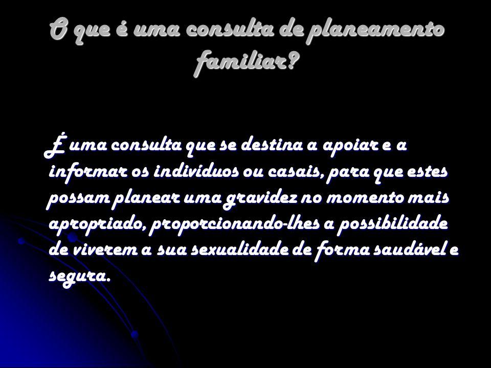 O que é uma consulta de planeamento familiar? É uma consulta que se destina a apoiar e a informar os indivíduos ou casais, para que estes possam plane