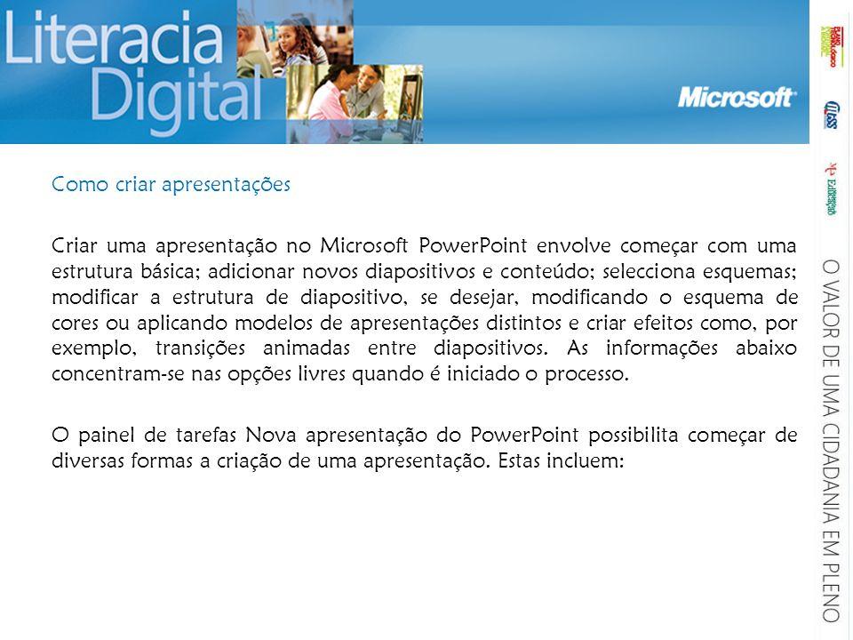 Como criar apresentações Criar uma apresentação no Microsoft PowerPoint envolve começar com uma estrutura básica; adicionar novos diapositivos e conte