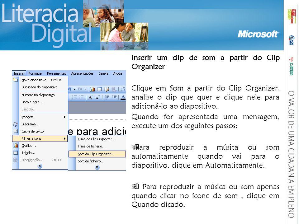 Para ajustar as definições para o final do ficheiro de música: clique no ícone de som, clique com o botão direito do rato e, no menu de atalho, clique em Animação personalizada.