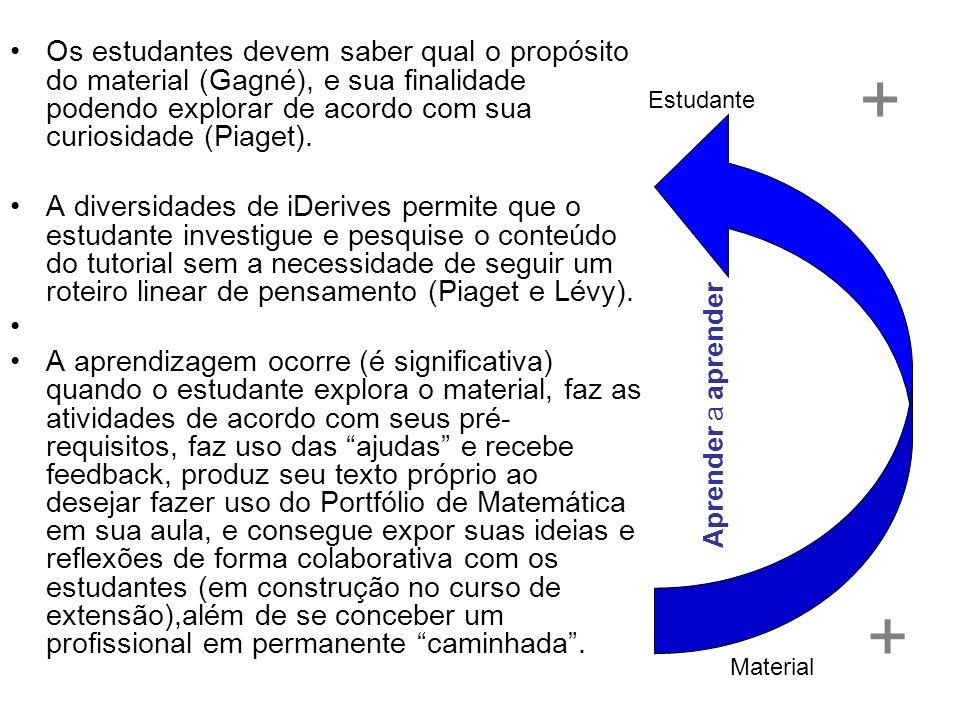 Os estudantes devem saber qual o propósito do material (Gagné), e sua finalidade podendo explorar de acordo com sua curiosidade (Piaget). A diversidad
