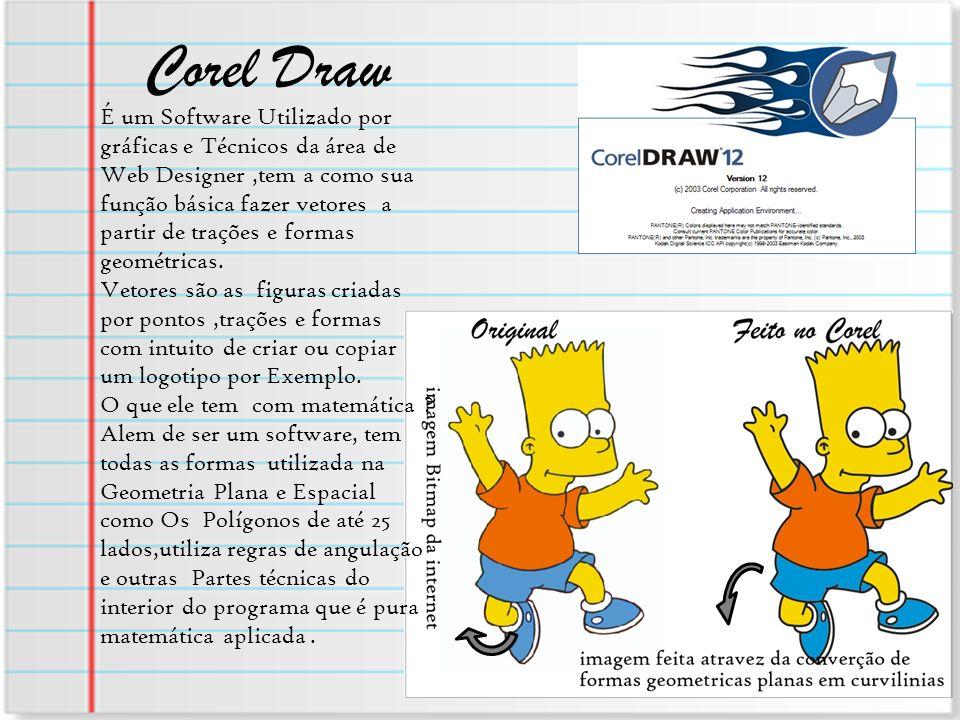 Corel Draw É um Software Utilizado por gráficas e Técnicos da área de Web Designer,tem a como sua função básica fazer vetores a partir de trações e fo
