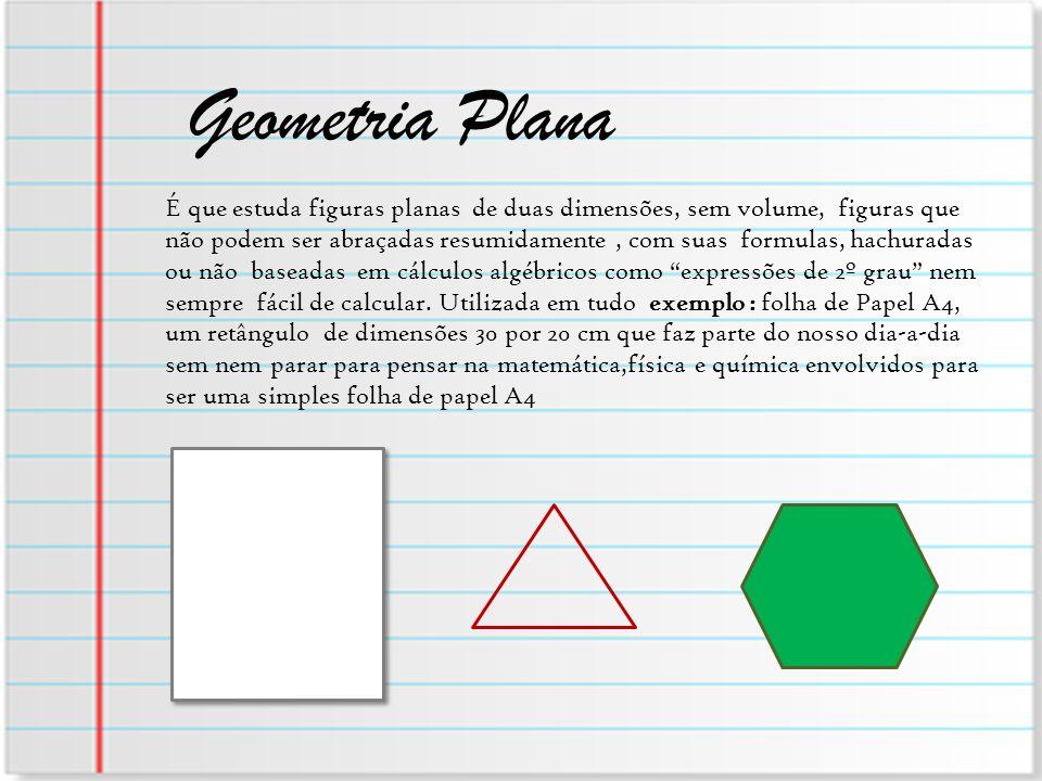 Geometria Plana É que estuda figuras planas de duas dimensões, sem volume, figuras que não podem ser abraçadas resumidamente, com suas formulas, hachu