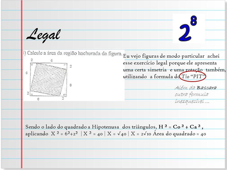 Legal Eu vejo figuras de modo particular achei esse exercício legal porque ele apresenta uma certa simetria e uma rotação também, utilizando a formula