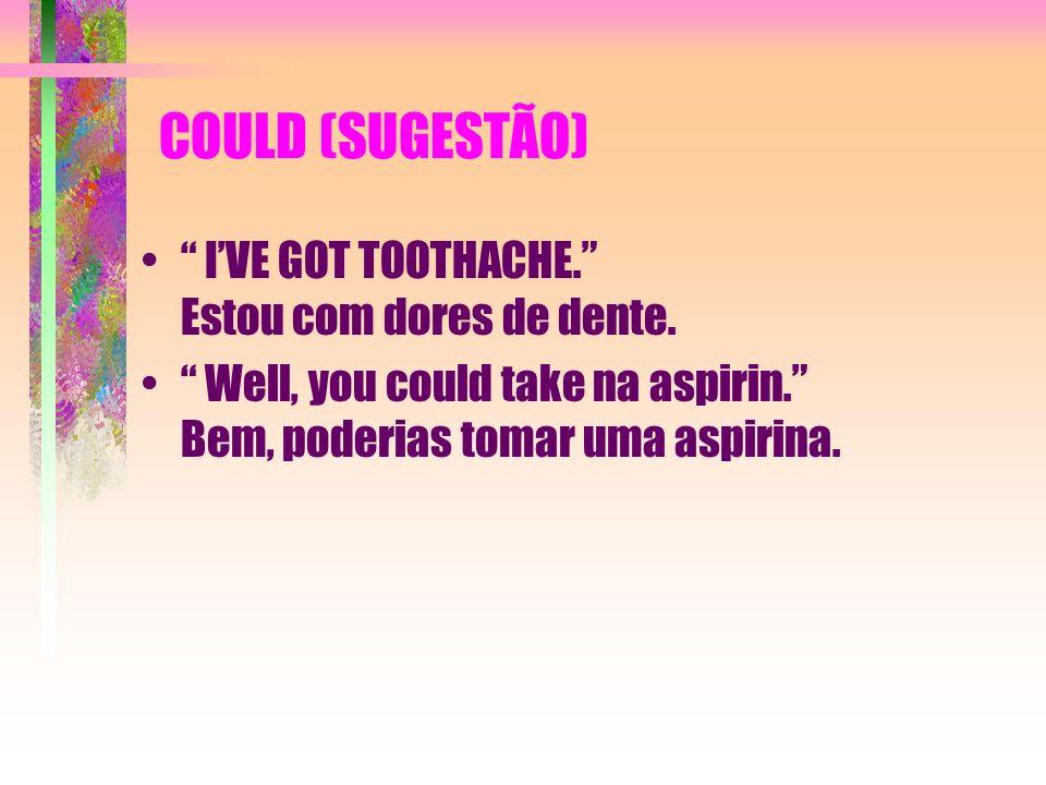 COULD (SUGESTÃO) IVE GOT TOOTHACHE. Estou com dores de dente. Well, you could take na aspirin. Bem, poderias tomar uma aspirina.