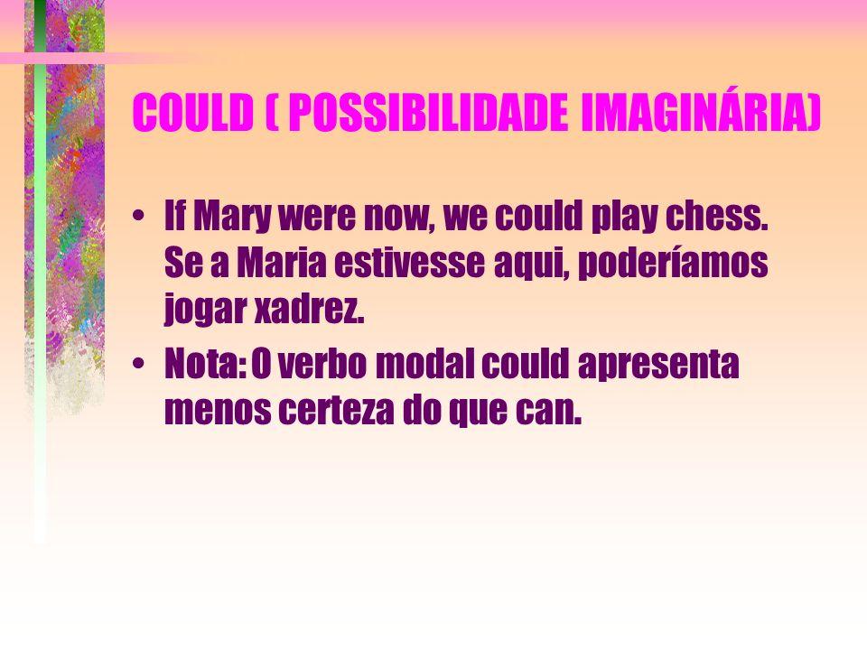 COULD ( POSSIBILIDADE IMAGINÁRIA) If Mary were now, we could play chess. Se a Maria estivesse aqui, poderíamos jogar xadrez. Nota: O verbo modal could