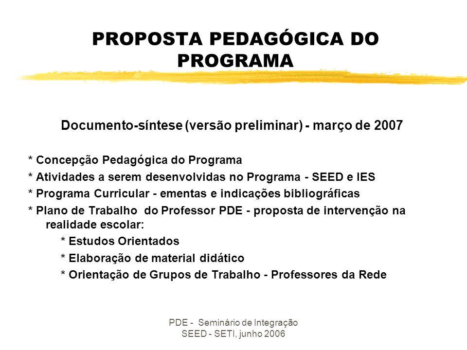 PDE - Seminário de Integração SEED - SETI, junho 2006 BASE LEGAL DO PROGRAMA Instituído pela Lei Complementar nº 103, de 15/03/2004, que cria o Plano