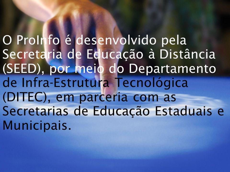 O ProInfo é desenvolvido pela Secretaria de Educação à Distância (SEED), por meio do Departamento de Infra-Estrutura Tecnológica (DITEC), em parceria