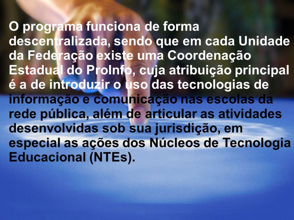 A idéia fundamental do proinfo é promover o uso pedagógico das diversas mídias eletrônicas nas escolas públicas de todo o Brasil.