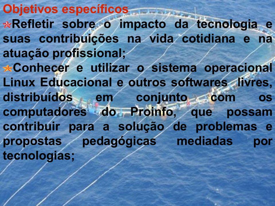 Objetivos específicos Refletir sobre o impacto da tecnologia e suas contribuições na vida cotidiana e na atuação profissional; Conhecer e utilizar o s
