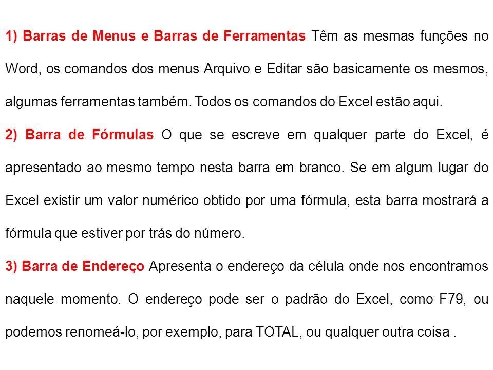 1) Barras de Menus e Barras de Ferramentas Têm as mesmas funções no Word, os comandos dos menus Arquivo e Editar são basicamente os mesmos, algumas fe