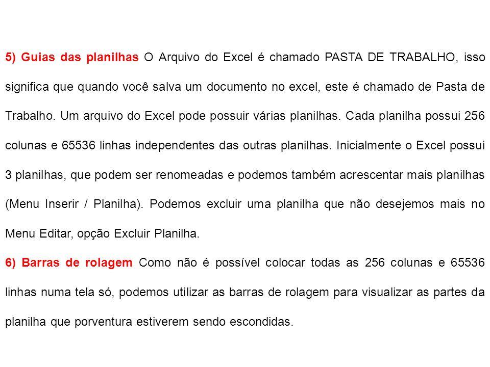 5) Guias das planilhas O Arquivo do Excel é chamado PASTA DE TRABALHO, isso significa que quando você salva um documento no excel, este é chamado de P
