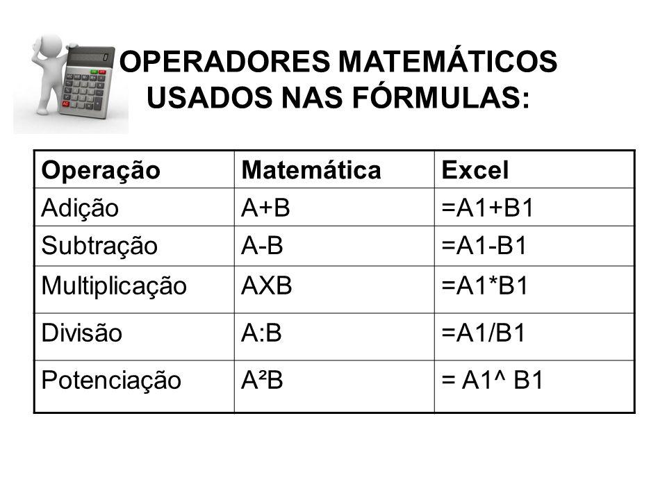 OPERADORES MATEMÁTICOS USADOS NAS FÓRMULAS: OperaçãoMatemáticaExcel AdiçãoA+B=A1+B1 SubtraçãoA-B=A1-B1 MultiplicaçãoAXB=A1*B1 DivisãoA:B=A1/B1 Potenci