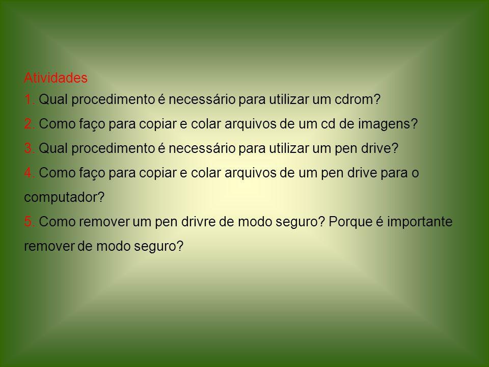 Atividades 1. Qual procedimento é necessário para utilizar um cdrom? 2. Como faço para copiar e colar arquivos de um cd de imagens? 3. Qual procedimen