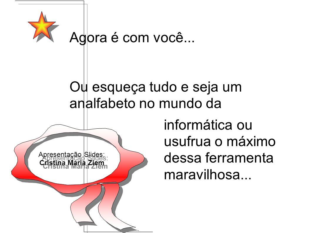 Apresentação Slides: Cristina Maria Ziem Apresentação Slides: Cristina Maria Ziem Agora é com você... Ou esqueça tudo e seja um analfabeto no mundo da
