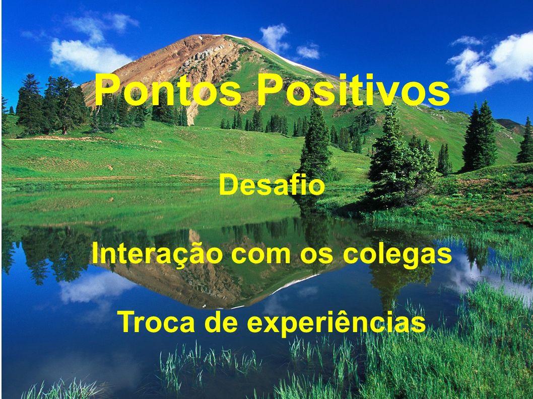 Pontos Positivos Desafio Interação com os colegas Troca de experiências