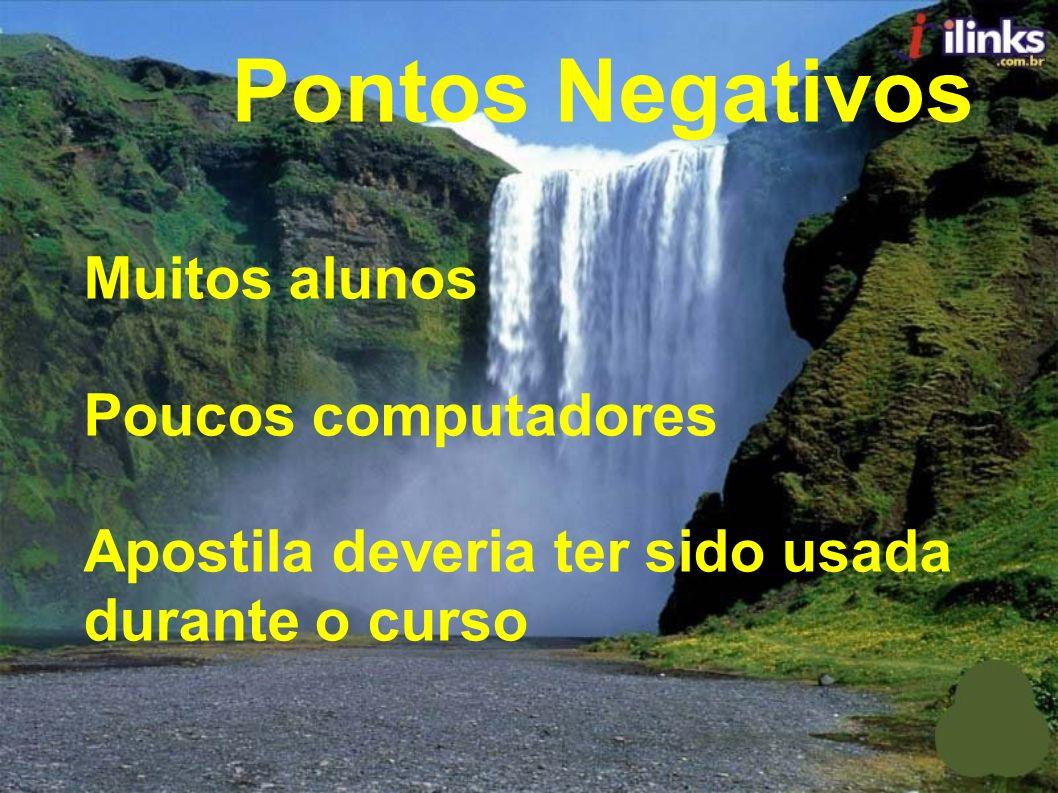 Pontos Negativos Muitos alunos Poucos computadores Apostila deveria ter sido usada durante o curso