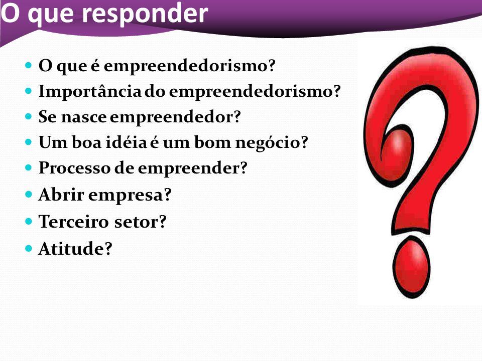 O que responder O que é empreendedorismo? Importância do empreendedorismo? Se nasce empreendedor? Um boa idéia é um bom negócio? Processo de empreende
