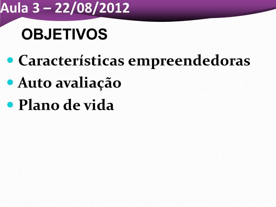 Aula 3 – 22/08/2012 Características empreendedoras Auto avaliação Plano de vida OBJETIVOS