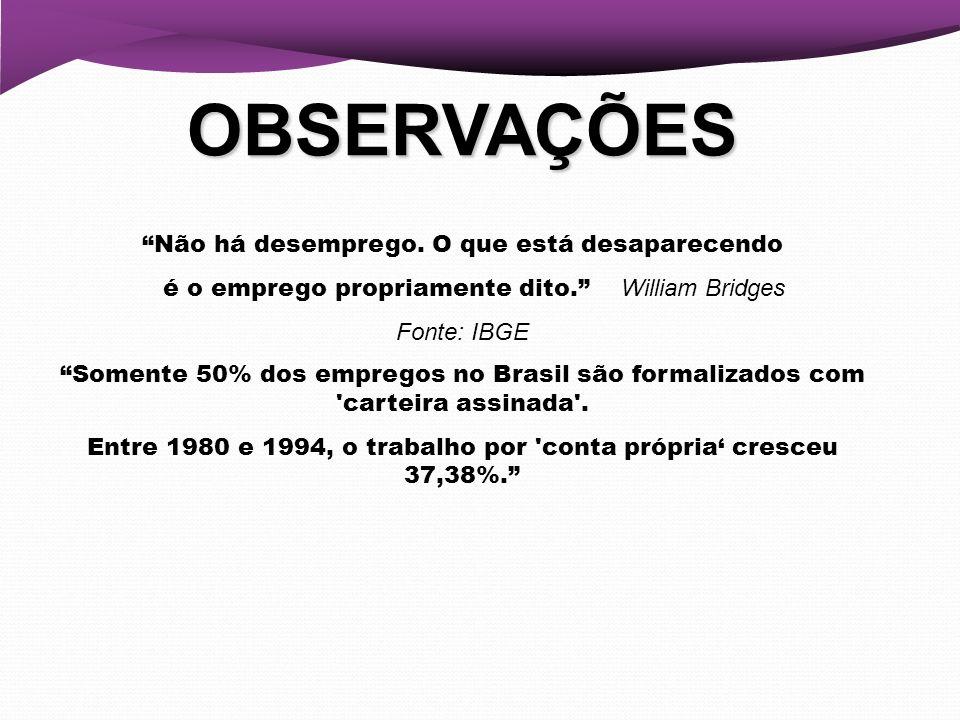 OBSERVAÇÕES Não há desemprego. O que está desaparecendo é o emprego propriamente dito. William Bridges Fonte: IBGE Somente 50% dos empregos no Brasil