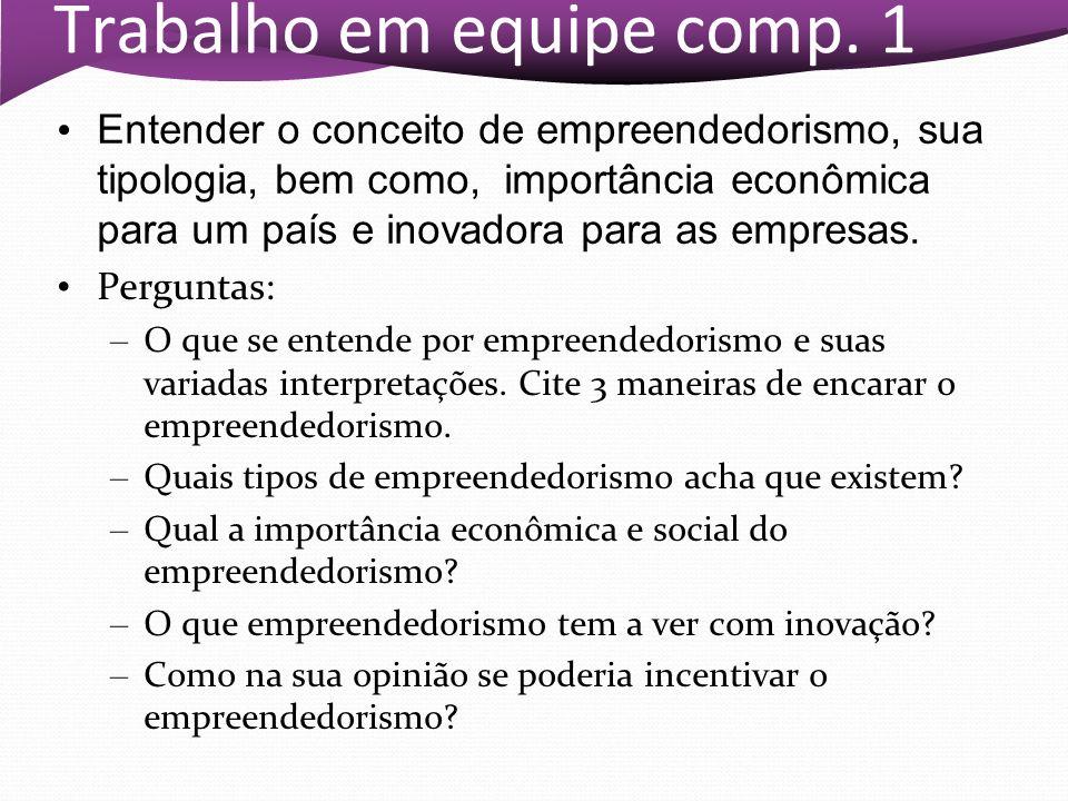 Trabalho em equipe comp. 1 Entender o conceito de empreendedorismo, sua tipologia, bem como, importância econômica para um país e inovadora para as em