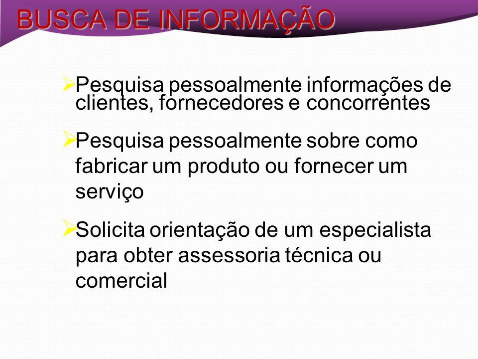 Pesquisa pessoalmente informações de clientes, fornecedores e concorrentes Pesquisa pessoalmente sobre como fabricar um produto ou fornecer um serviço