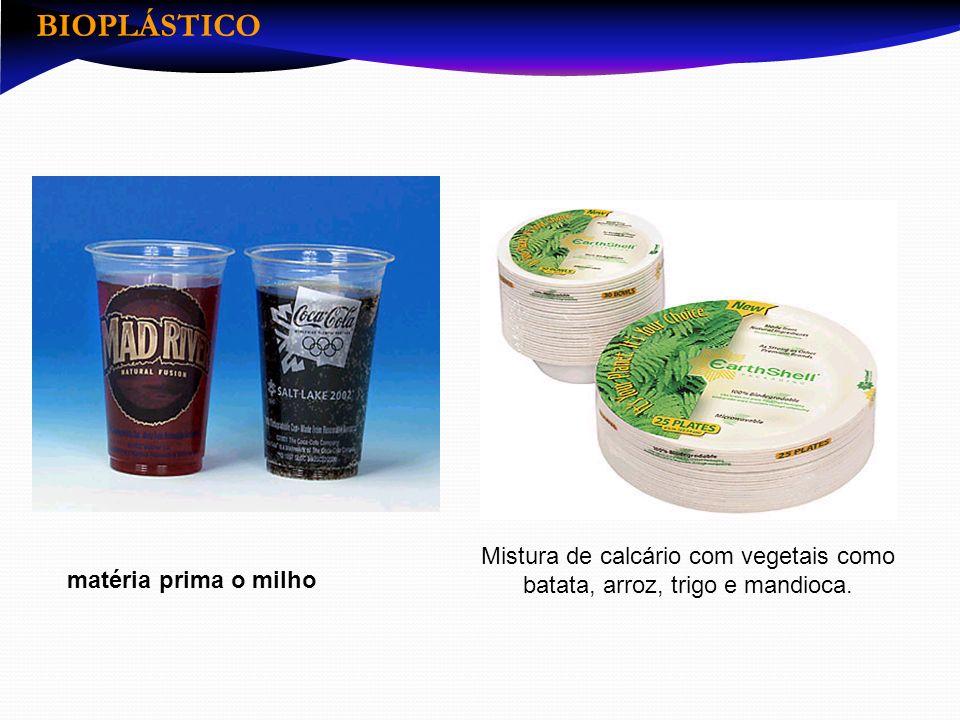 Mistura de calcário com vegetais como batata, arroz, trigo e mandioca. matéria prima o milho BIOPLÁSTICO