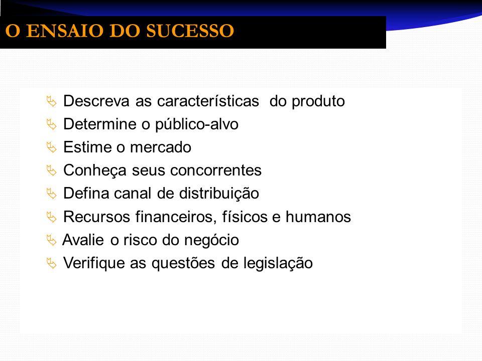 O ENSAIO DO SUCESSO Descreva as características do produto Determine o público-alvo Estime o mercado Conheça seus concorrentes Defina canal de distrib