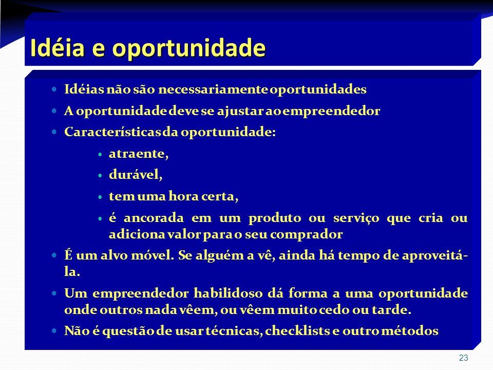 23 Idéia e oportunidade Idéias não são necessariamente oportunidades A oportunidade deve se ajustar ao empreendedor Características da oportunidade: a