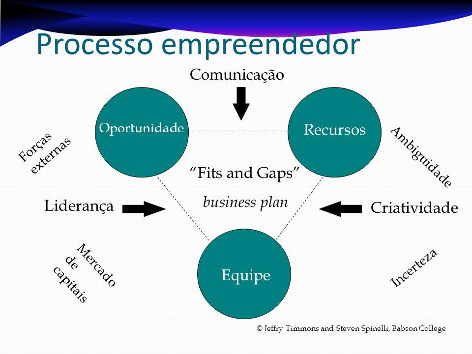Processo empreendedor Recursos Equipe Oportunidade Criatividade Liderança Comunicação Ambiguidade Incerteza Forças externas Mercado de capitais Fits a