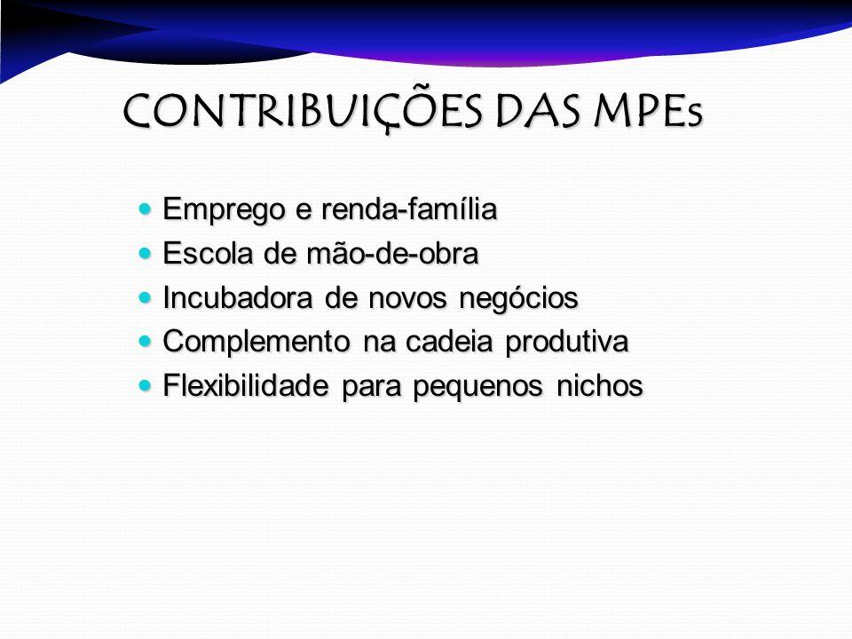 CONTRIBUIÇÕES DAS MPEs CONTRIBUIÇÕES DAS MPEs Emprego e renda-família Emprego e renda-família Escola de mão-de-obra Escola de mão-de-obra Incubadora d