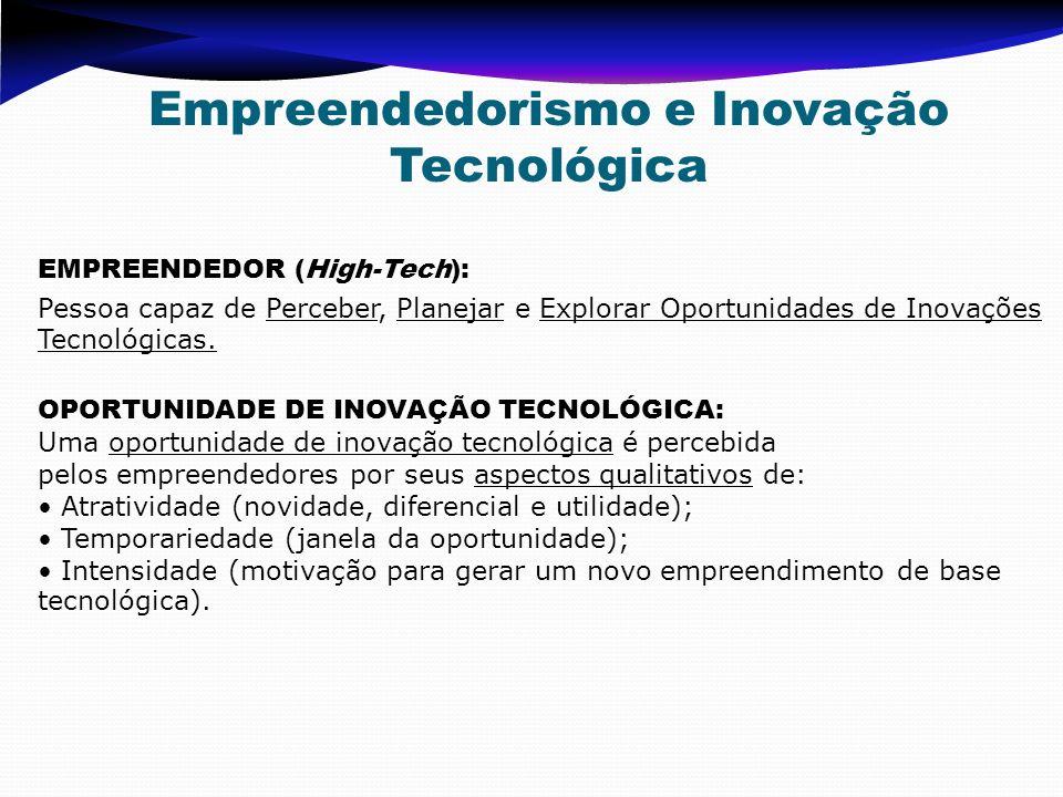 EMPREENDEDOR (High-Tech): Pessoa capaz de Perceber, Planejar e Explorar Oportunidades de Inovações Tecnológicas. OPORTUNIDADE DE INOVAÇÃO TECNOLÓGICA: