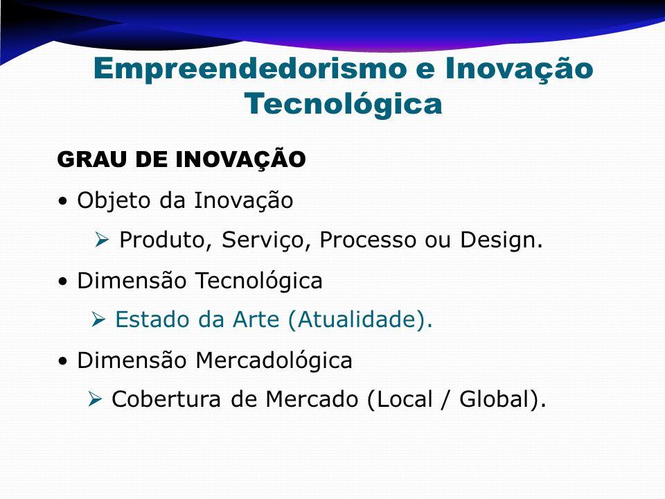 GRAU DE INOVAÇÃO Objeto da Inovação Produto, Serviço, Processo ou Design. Dimensão Tecnológica Estado da Arte (Atualidade). Dimensão Mercadológica Cob